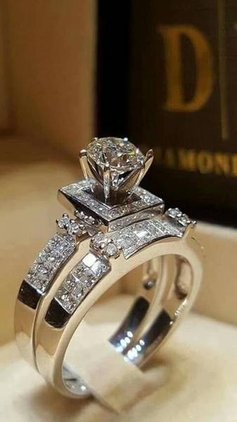 Bague de fiançailles exquis mariage nuptiale brillant pure bague naturelle saphir blanc bague haute bijoux 219