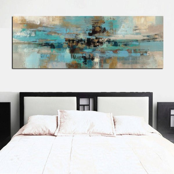 Acheter Bleu Clair Toile Peinture Affiches Et Gravures Moderne Abstrait Peinture à L Huile Mur Art Chambre Salon Salon Cuadros Decoracion Salon De