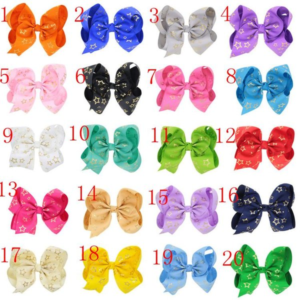 Girls Hair Accessories Baby 7 Inch Large Grosgrain Ribbon Bow Hairpin Clips gold Star Girl big Bowknot Barrette Kids Hair Boutique Bows 438