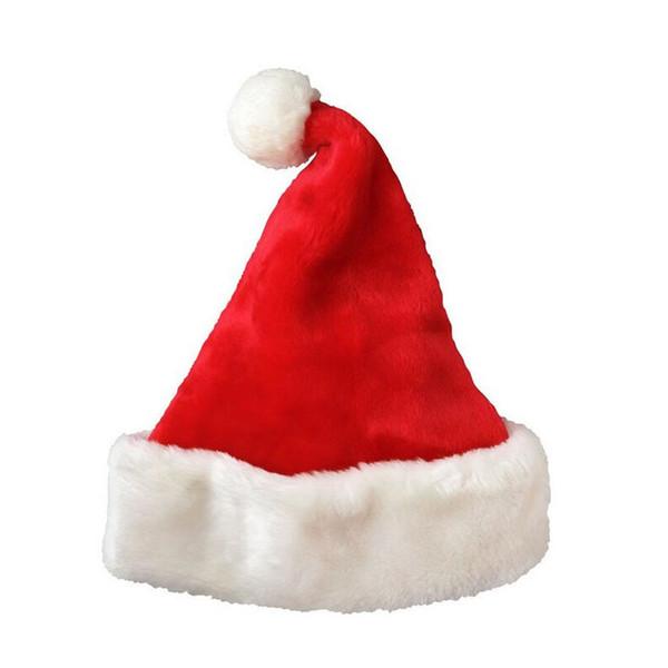 100 unids Terciopelo Sombrero de Santa con Felpa Brim Adulto Niño Fiesta de Navidad Cap Celebración Gran Evento Favores Regalo Rojo ZA4869
