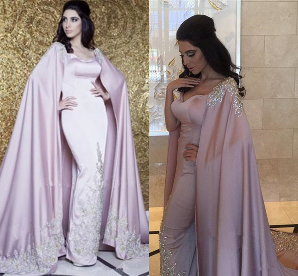 Dubai Arabic Evening Dresses With Cape 2018 Luxury Appliques Sparkle Crystal Sequins Lavender Caftan Kaftan Abaya Occasion Prom Formal Gown