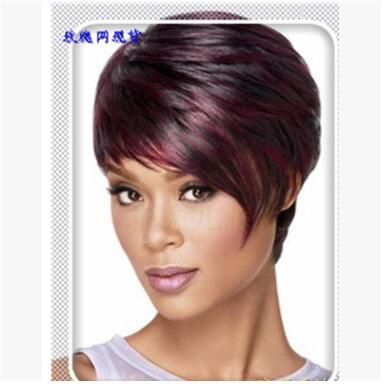 Großhandel Mixed Colored Perücke Eine Europäische Haarfarbe Schwarze Frau Yiwu Perücke Wein Rote Schräge Pony Und Kurze Haare Von Lizhi2110 784