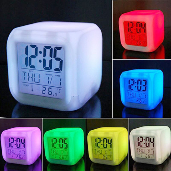 7 Colors LED Changing Digital Alarm Clock Desk Digital Alarm Thermometer Night Glowing Cube LCD Clock Home Decor TSLM1