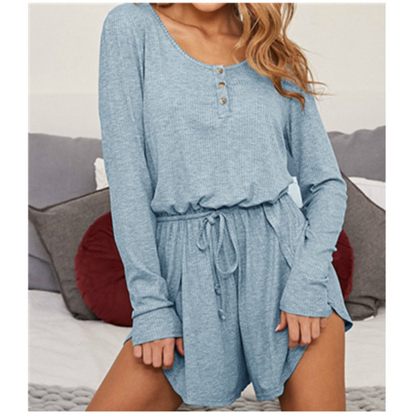 Long Sleeve Autumn Women Playsuits 2019 Casual Buttons Jumpsuits Drawstring Waist Shorts Sexy Lady Rompers Femme Plus Size M0062