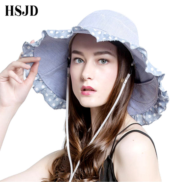 16f67a6d0 Wave Point Bowknot Sun Hat 2018 New Summer Women'S Foldable Wide Large Brim  Elegant Sunhats Ladies Lace Cotton Beach Caps Tilley Hat Pillbox Hat From  ...