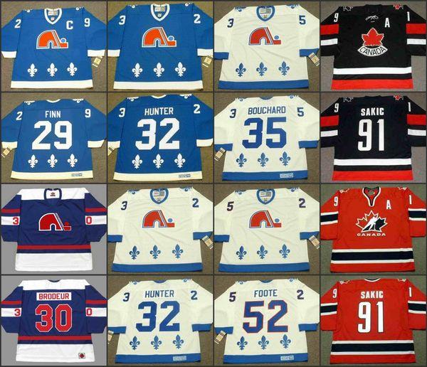 Quebec Nordiques 29 STEVEN FINN 30 RICHARD BRODEUR 32 DALE HUNTER 35 DAN BOUCHARD 52 ADAM FOOTE CCM NHL Hockey fuera de casa Jersey cosido