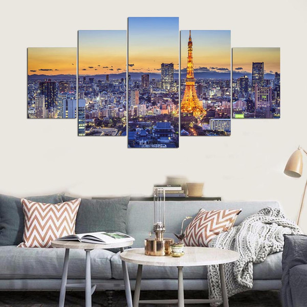 Modular Framework Wall Artwork Fashion 5 Panel Tokyo Tower HD Print Canvas Painting Popular Picture For Living Room Decor Poster