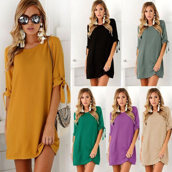 Womens Summer Casual Clothing Ladies V Neck short Sleeve Chiffon Shift Dress Fashion Casual Female Vestidosirt
