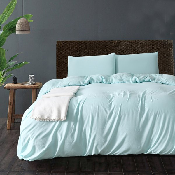 Simple Style 2018 Sale Polyester/Cotton Hotel 3Pcs Duvet Cover Set Twin Queen King Duvet Covers Mint Green Home Bedding Set