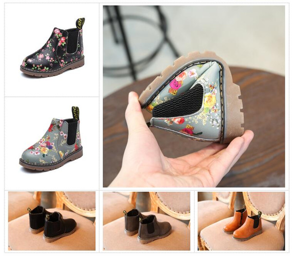 best selling Kids Autumn Baby Boys Oxford Shoes For Children Dress Boots Girls Fashion Martin Boots Toddler PU Ieather Boots Black Brown Gray