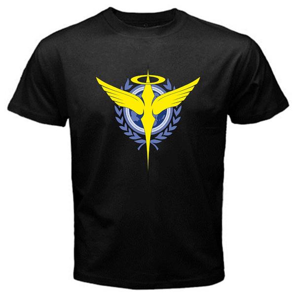 Cotton Shirts Celestial Being Gundam logo tv series T-Shirt Black Funny Printing T Shirts Men Short Sleeve T-shirts