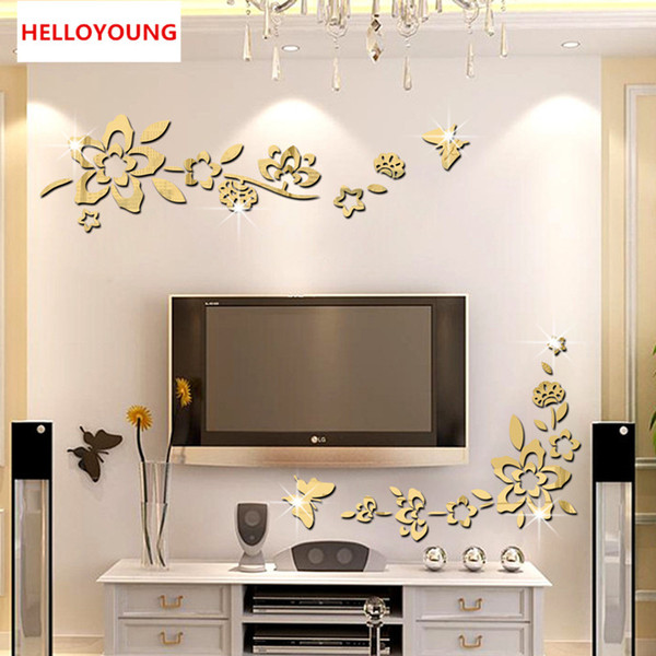 DIY Three-Dimensional Decoration Diagonal Flower Mirror Backdrop Acrylic Mirrored Waterproof Removable Wall Stickers