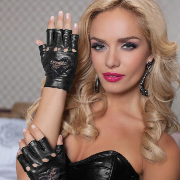 Half Finger Wet Look Vinyl Short Gloves Red Black Gothic Party Dance Gloves with Lace Heart