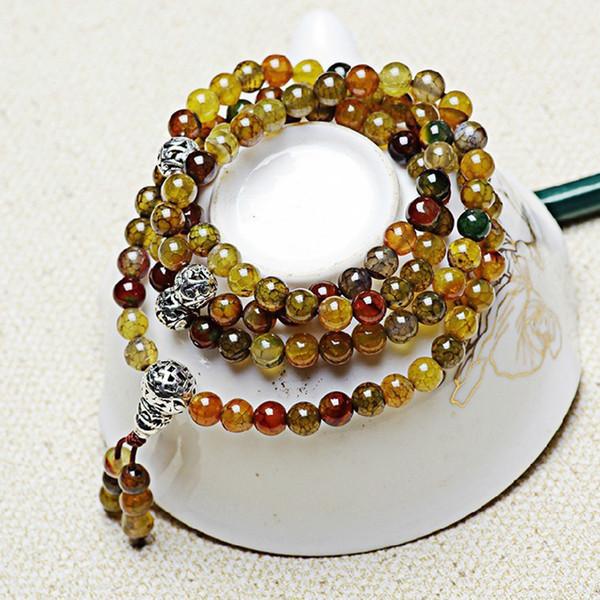 Großhandelsdrachemuster-natürliche Kristallarmbänder 6mm bördelt tibetanische silberne Armbänder, die für Liebhaber-Kristallarmband-Schmuck glücklich sind