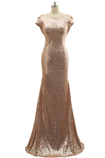 Rose Gold Sequin Bridesmaid Dresses Mermaid Maid of Honor Dress Sparkly Backless Wedding Party Gown Cap Sleeves Long Wedding Guest Dress