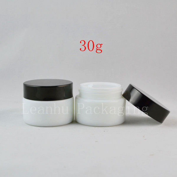 30g de vidro branco recipiente de creme cosmético 30 ml branco frasco de vidro vazio jar 1 oz garrafas de embalagens de cosméticos, olho creme pote