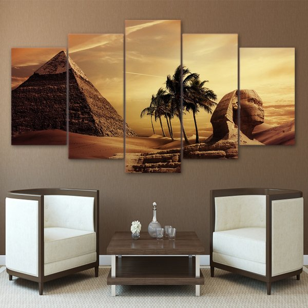 Modular 5 Piece Canvas Art Egyptian Pyramids Sphinx Posters Prints Painting HD Wall Framework Pictures For Living Room Home Decor