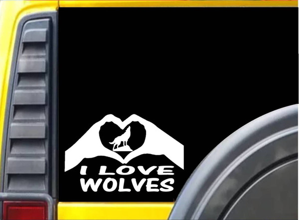 Großhandel Car Styling Für Wölfe Hände Herz Aufkleber K026 8 Zoll Wolf Anruf Aufkleber Auto Aufkleber Von Redchinatown 101 Auf Dedhgatecom