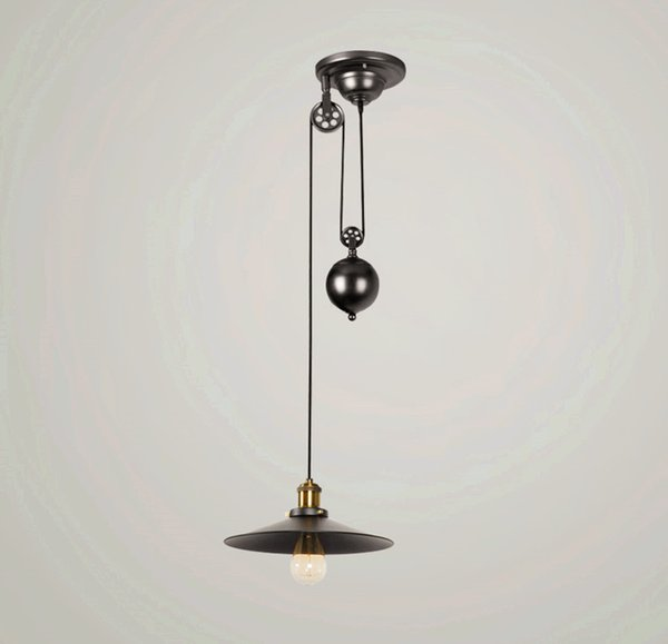 Loft Vintage Retro Wrought Iron Black Chandelier Adjustable Pulley Industrial Lamps E27 Edison Pendant 2Lamp Home Light Fixtures
