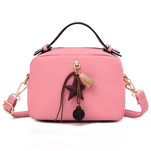 AUGUR 2018 Fashion Bag Ladies Luxury Genuine Leather Handbags Simple Casual Shoulder Bags Small Pink Crossbody Bag For Women
