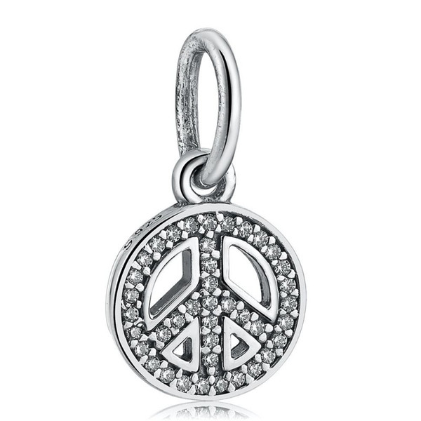 New Authentic 925 Sterling Silver DIY Jóias Pave Cristal Símbolo Da Paz Dangle Encantos Grânulos Serve Pulseira Europeia Fazendo HB464