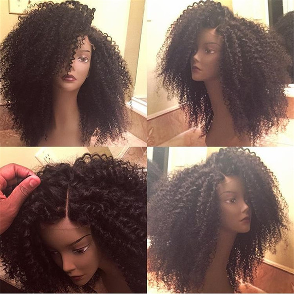 Brazilian Virgin human soft hair with full lace wigs Bleached Knots nature colour Kinky Curly glueless for black women