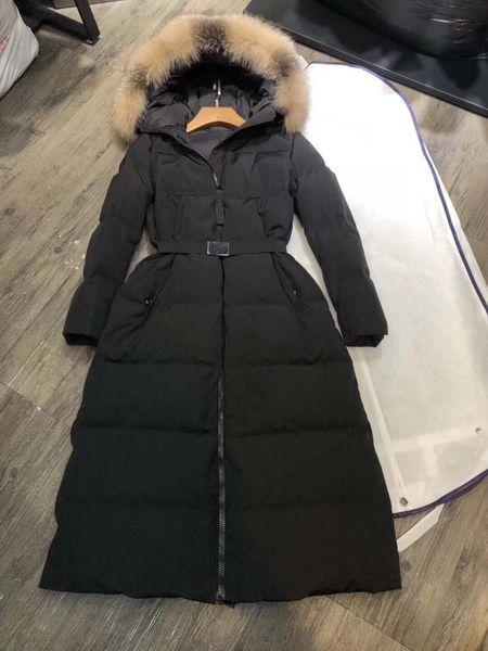 Women winter jacket ladie real fox fur collar duck down in ide warm coat femme long coat 811, Black