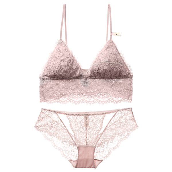 French floral lace bralette sexy transparent panties thin cup with pad intimates women comfortable sleepwear small underwear set