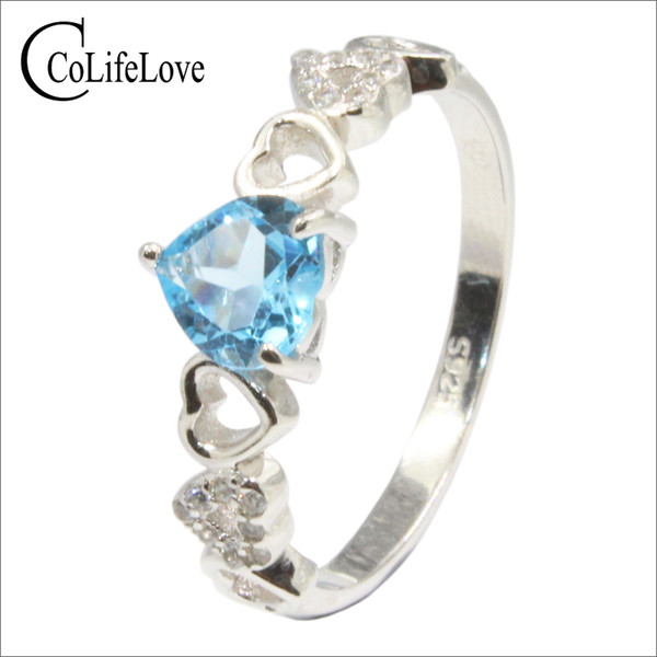 100% natural light blue topaz engagement ring for girl 6 mm heart cut topaz silver ring real 925 sterling silver topaz jewelry