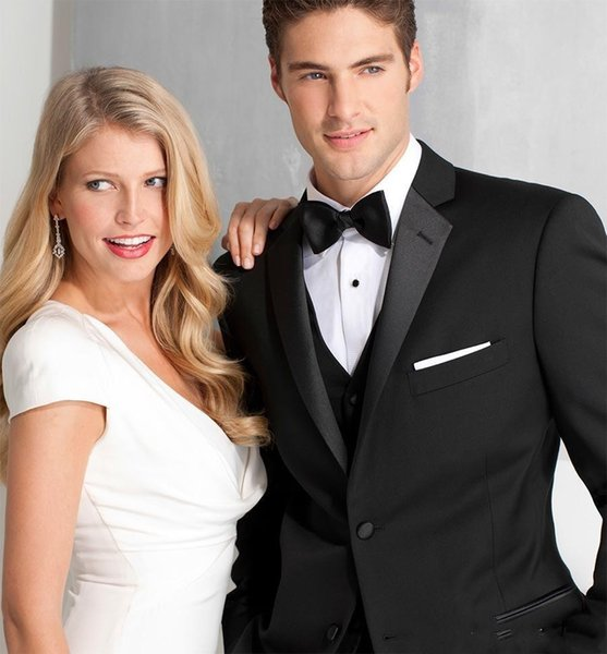 Custom Made Black Business Groom Tuxedos Best Man Gun Collar Groomsmen Men Wedding Suits Formal Prom Dress(Jacket+pants)