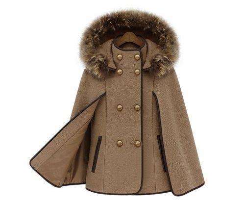 2018 Autumn Winter Fashion Fur Collar Hooded Outwear Woman Cloak Cape Double Breasted Elegant Wool Jacket Female Overcoat XS-3XL