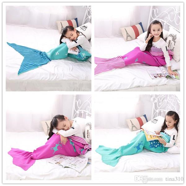 Yeni Moda Mermaid Kuyruk Battaniye Mermaid uyku tulumları Dalga Battaniye Yatak Wrap Örgü Kanepe Çocuk Battaniye B0846