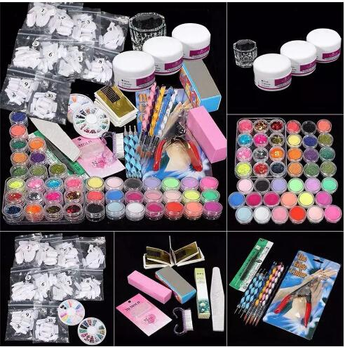 top popular Wholesale ColorWomen 37 in 1 Professional Manicure Set Acrylic Glitter Powder French Nail Art Decor Tips Set 160927 Drop Shipping 2019