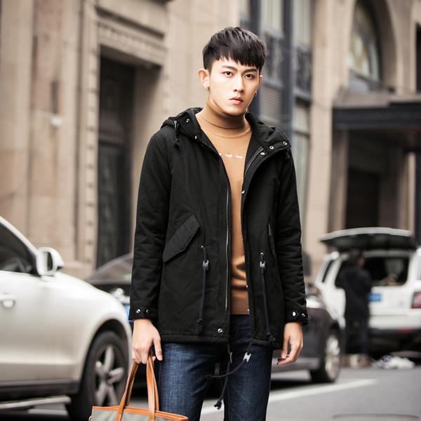 MIXCUBI invierno, estilo coreano, diseño de cordón cálido en la cintura, chaqueta acolchada, casual, suelta, cálida, chaquetas acolchadas, abrigo para hombre M-5XL