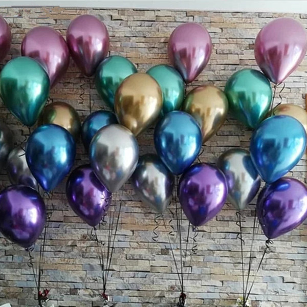 50 adet 12 inç Karışık Metalik Lateks Balonlar Inci Metal Krom Hava Helyum Topları Bebek Doğum Günü Düğün Parti Süslemeleri Çoc ...