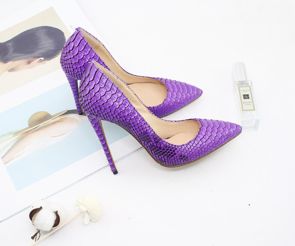 Fashion women snake pattern party dress shoes red sole 8.5 10 12cm customize heel large size 35-46 purple designer pumps for lady