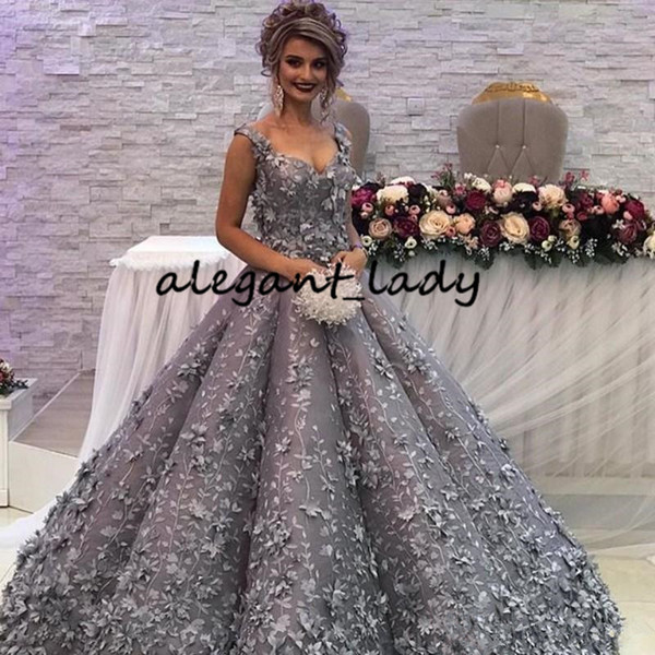 Silver Grey Puffy Skirt Princess Prom Formal Party Dresses 2019 Modest Sweetheart Dubai Arabic 3D Floral Lace Evening Occasion Gown