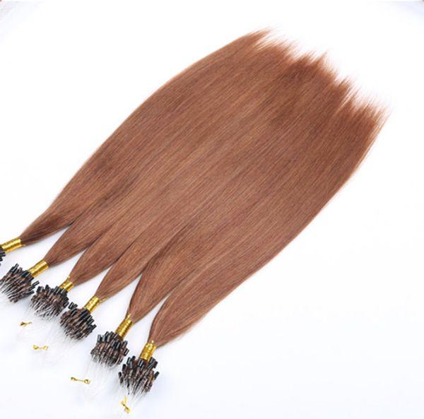 Mikro Döngü Saç Uzantıları İnsan 14-24 inç 1 g / Strand 100 g / paket Ipeksi Düz Saç Ön-Gümrüklü Mikro Halka 30 # Renk İnsan Saç Uzantıları