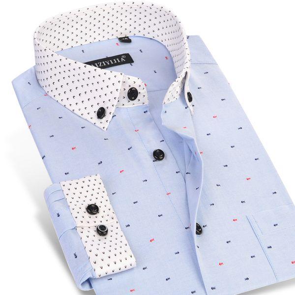 CAIZIYIJIA 2018 Men's Fish Bone Printed Long Sleeve Dress Shirts Patchwork Cuff Comfort Soft Casual Slim-fit Button-Down Shirts