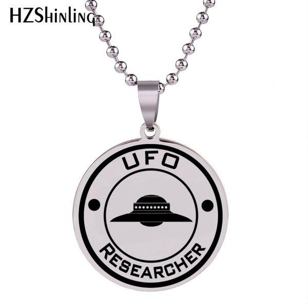 2018 novo ufo pesquisador colar de arte artesanal de aço inoxidável pingente colares de prata rodada jóias bola cadeia