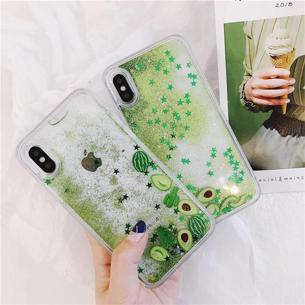 Summer Green Fruit Watermelon Avocado Cactus Phone Case For iPhone 7/8 plus 6s plus X Quicksand Star Dynamic Liquid Back Cover