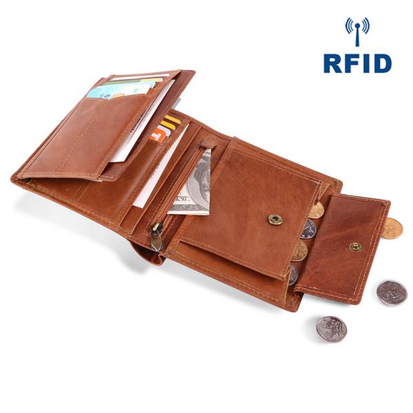 Wholesale 2018 New Design Brand Men Wallets 100% Genuine Leather Purse RFID Credit Card Holder Male Wallet Zipper Coin Pocket Photo Holder