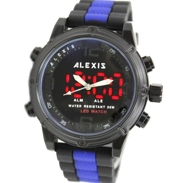 ALEXIS MARKA Alarm BackLight Suya Dayanıklı Silikon Siyah + Mavi Ton Renk Band Erkekler Analog Dijital İzle AW802L