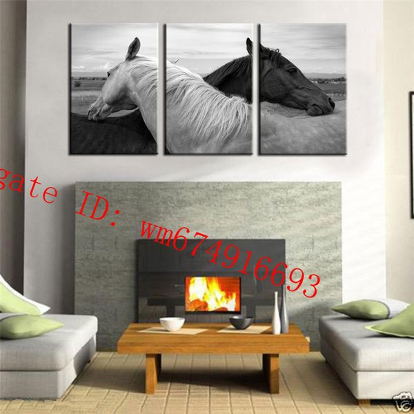 Black & White Horse , 3 Pieces Home Decor HD Printed Modern Art Painting on Canvas (Unframed/Framed)