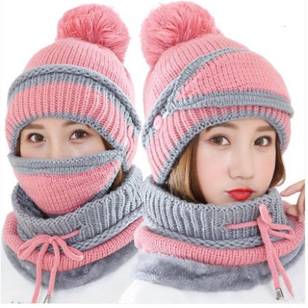 2e4fcbb93 2018 Visrover New Winter Knitted Cashmere Scarf Mask Hat Set Motor Driver  Windstop Sets Ear Cuff Cap Neck Collor Three Set For Women C18103101 From  ...