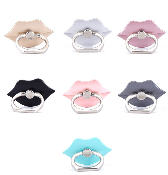 Universal 360 Degree Lip Shape Finger Ring Holder Ring Phone Holder Stand For cell phone accessories iPhone X Samsung Mobile Phones