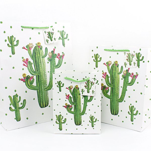 Cactus Gifts Packaging Bag Paper Hand Bag Garment Shoppig Gifts Packaging Cactus Bags Free DHL 882