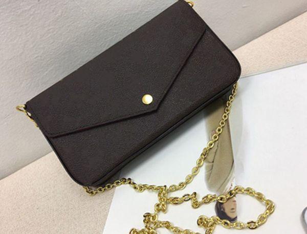 Ücretsiz kargo! Yeni Hakiki Deri Moda Zincir Omuz Çantaları Çanta Presbiyopik Mini Cüzdan Cep Kart Sahibinin Çanta M61276