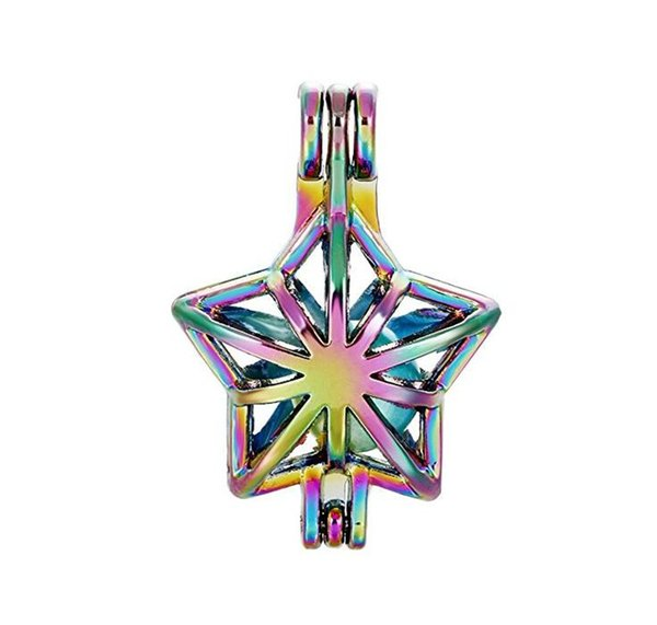 Rainbow Stars Beads Cage Pendants Essential Oil Diffuser Colored Oyster Pearl Locket Pendant Necklace Girl Party Gift C4