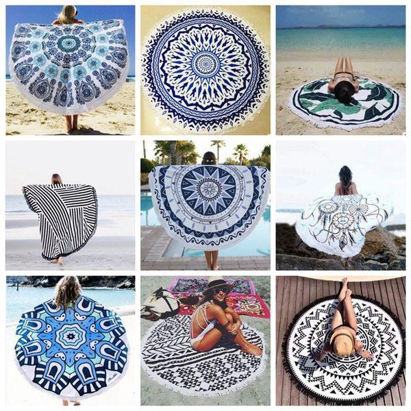 Runde Mandala Tapisserie indischen Strand werfen Handtuch Quaste Wandbehang Tapisserie Yogamatte Sonnencreme Schal Wrap Rock Teppiche 38 Designs YW456